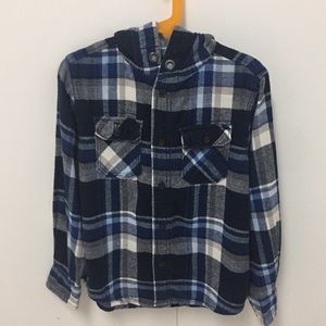 Boys Flannel with a hood.